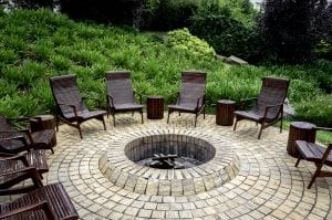 in ground pool replacement excavation patio firepit